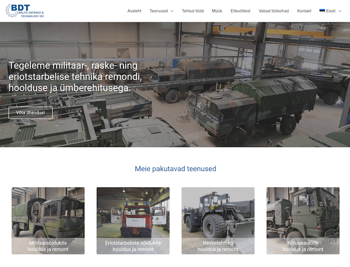 Kodulehe tegemine - Knowal portfooli Baltic Defence and Technology